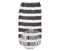 Harve Benard Printed Pleated High Low Skirt, Blue Lines Stripe