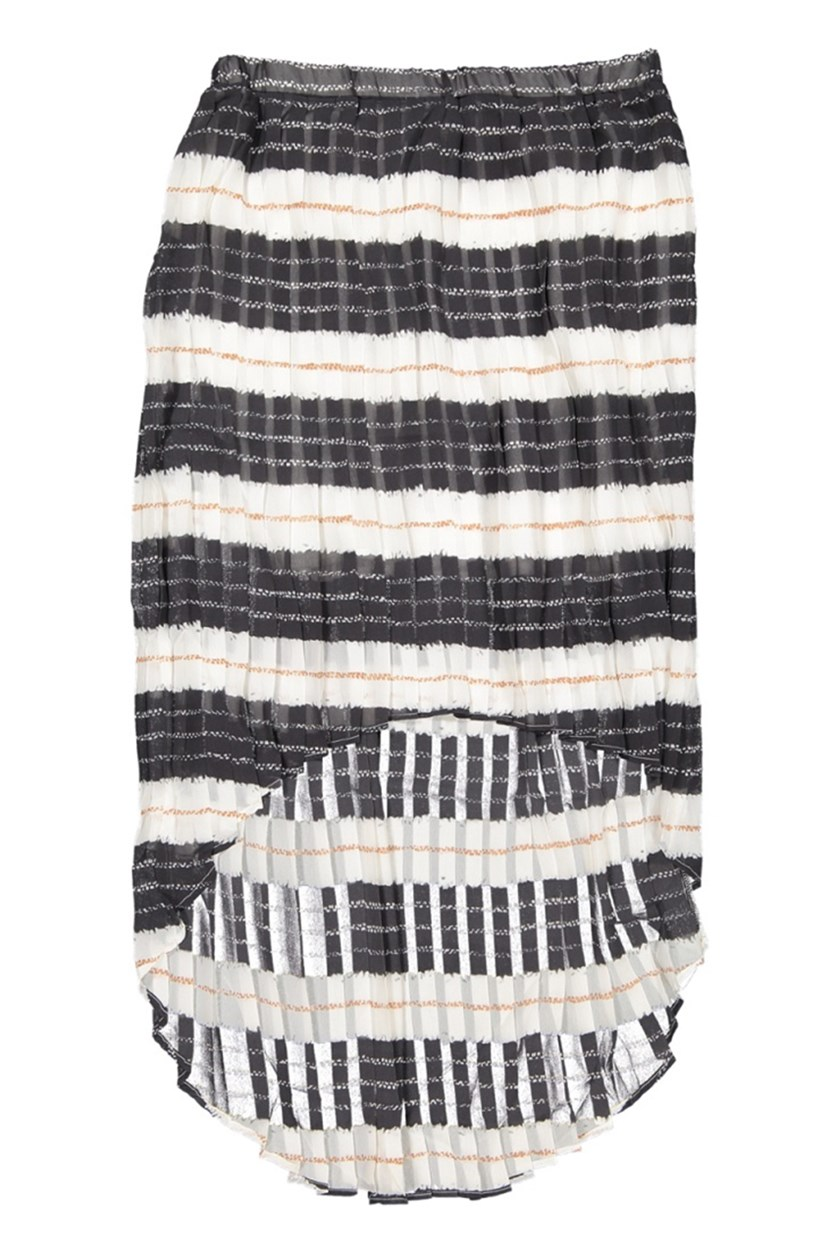 Printed Pleated High Low Skirt, Blue Lines Stripe