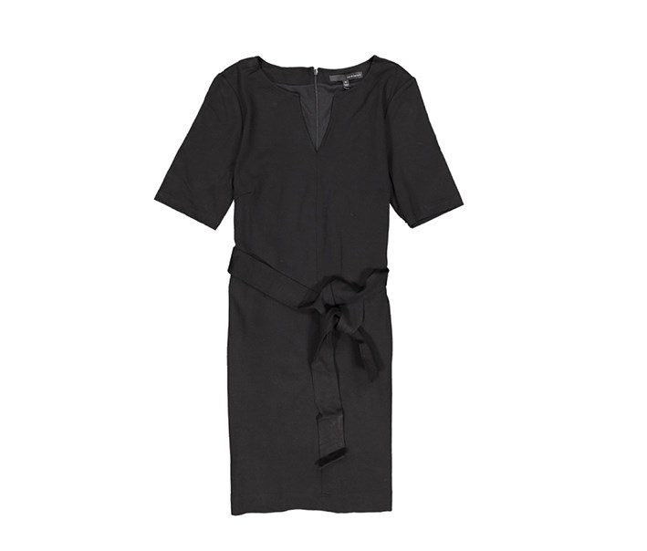 Women's	V-Neck Tie Ponte Dress, Black