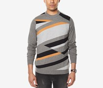 Sean John Men's Intarsia Knit Sweater, Tan/Gray Combo