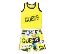 Guess Tank Top & Pants Set, Yellow Combo
