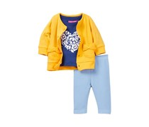 Isaac Mizrahi Heart Flocked Tee Cardigan Denim Pant Set, Yellow/Blue