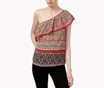 Lily Black Juniors One-Shoulder Top, Red Sand