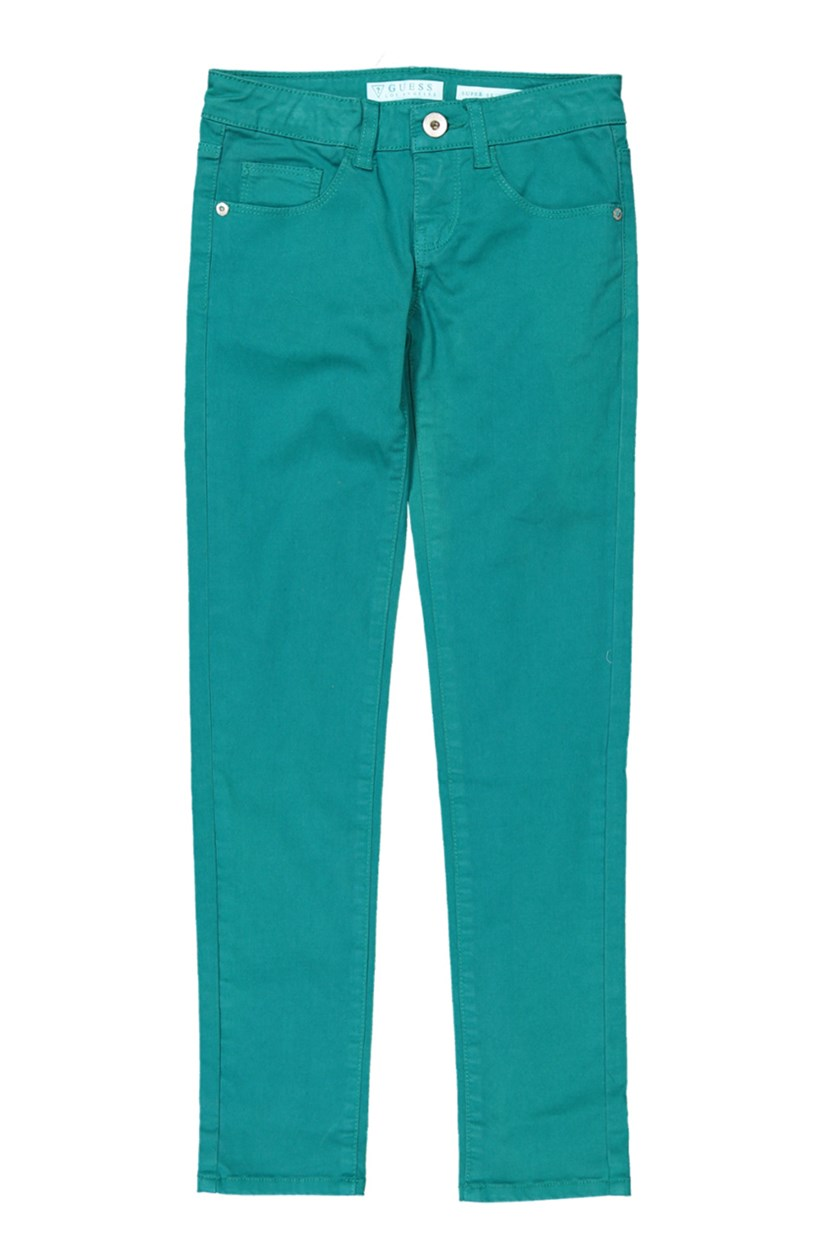 Girls Skinny Cotton Jeans, Teal Green