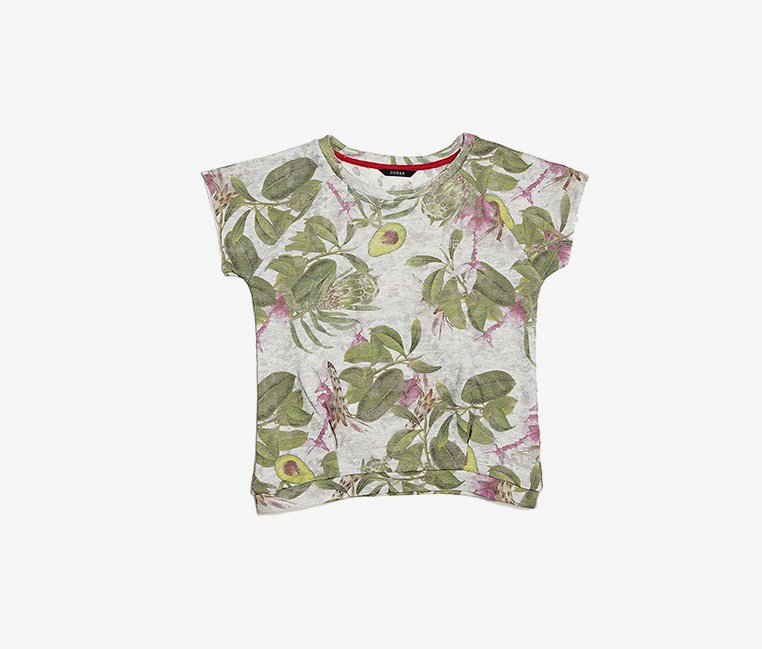 Girls Floral Top, Green/Grey Combo