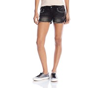 Miss Me Women's Embroidered Faux Pocket Short, Black