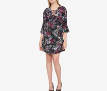 Jessica Simpson Floral Bell Sleeve Dress, Black Combo