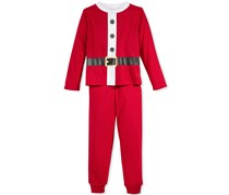 Family Pajamas Boys' or Girls' Santa Suit Pajama Set, Red