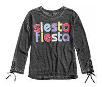 Lace-Up Sleeve T-Shirt, Charcoal Grey