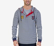 Slim-Fit Striped Thermal-Knit Hoodie, Navy Blue