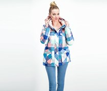 Chillin Women's Hood Printed Outer Jacket, Blue Combo
