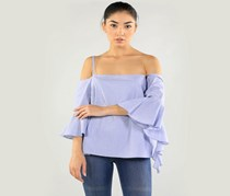 Kensie Off Shoulder Oxford Shirt, Blue