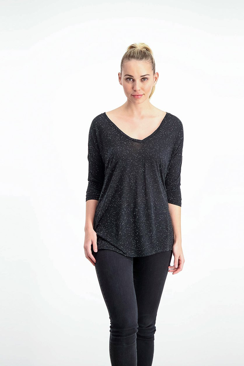 Three Quarter Sleeve Top, Black