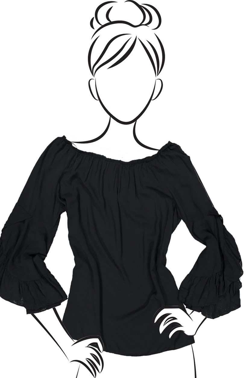 Ruffle Sleeve Top, Black