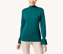 Cable & Gauge Flared-Cuff Mock-Neck Sweater, Green