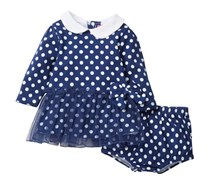 Isaac Mizrahi Girl's Polkadot Dress & Diaper Cover Set, Navy/White