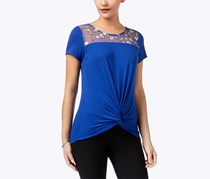 Ny Collection Twist-Front Illusion-Contrast Top, Blue