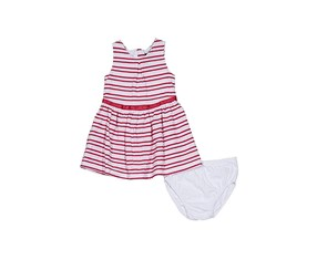 Nautica Little Girls Scallop Stripe Knit Dress, Pink/White