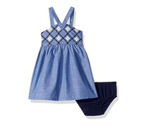 Nautica Baby Girls Spaghetti Strap Sleeveless Dress, Medium Chambray