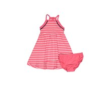 Nautica Little Girls Striped With Pompom Trim, Pink