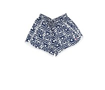 Nautica Little Girls With PomPom Trim Printed Short, Navy/White