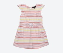 Nautica Striped Jersey With Ruffled Shoulder Dress, Coral Combo