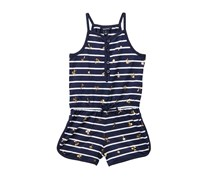 Nautica Stripe & Foil Palm Tree Print Romper, Navy/White