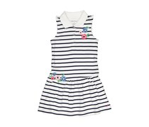 Nautica Stripe Pique Dress With Embroidered Flower, Navy/White