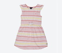 Nautica Big Girls Stripe Jersey Dress, Peach/Pink/Yellow