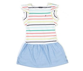 Nautica Big Girls Rainbow Stripe Combo Dress, White Combo