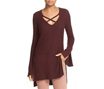 Free People Womens Criss Cross Side Slits Pullover Sweater, Brown