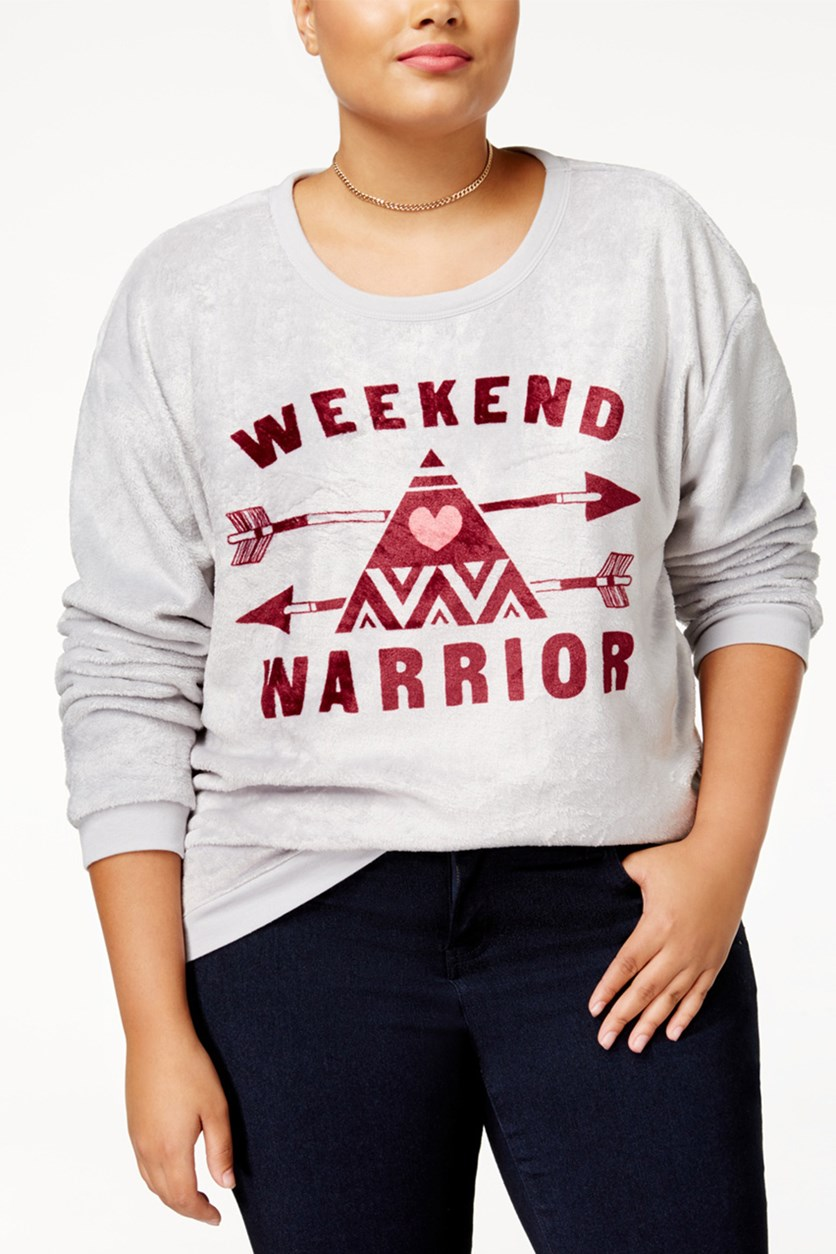 Womens Plus Size Weekend Warrior Graphic Sweatshirt, Gray