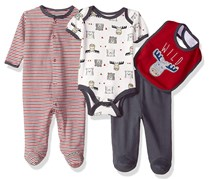 Rene Rofe Kids Little 4 Pc Coverall Bodysuit Pant & Bib Set, Red/White/Navy