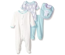 Rene Rofe Little Kids  4 Pc Coverall Bodysuit Pant And Bib Set, Gray/Blue/White