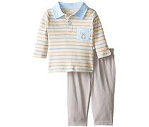 Rene Rofe Baby Boy's 2 Piece Knit Denim Monkey Pant Set with Collared Shirt, Beige/Blue