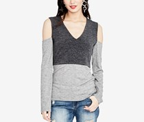 Rachel Roy Cold-Shoulder Top, Charcoal Heather Grey
