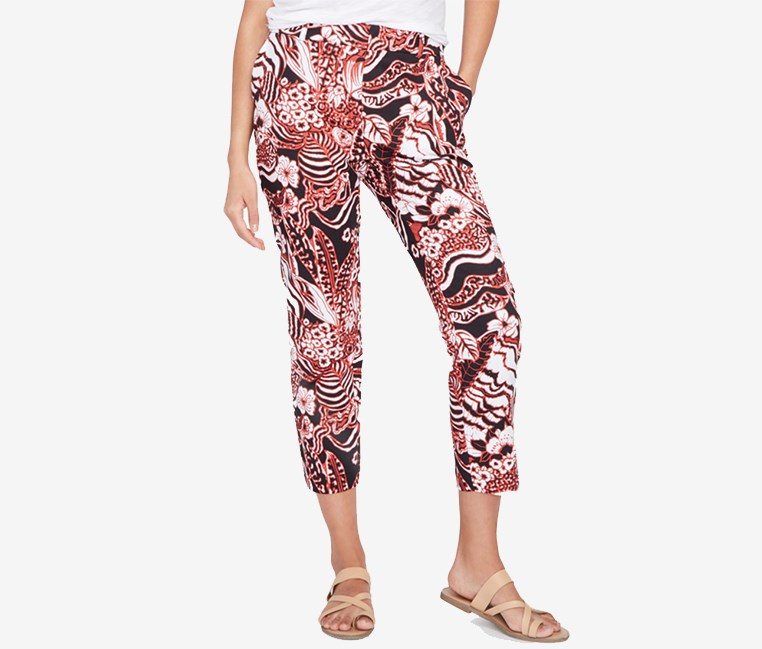 Printed Slim Ankle Pants, Black Combo