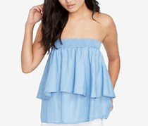 Rachel Roy Chambray Tiered Strapless Top, Light Wash