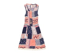 Speechless Big Girls Patchwork Dress, Coral/Navy
