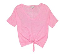 John And Jenn Women's Pullover Sweater Tie-Front, Heather Pink