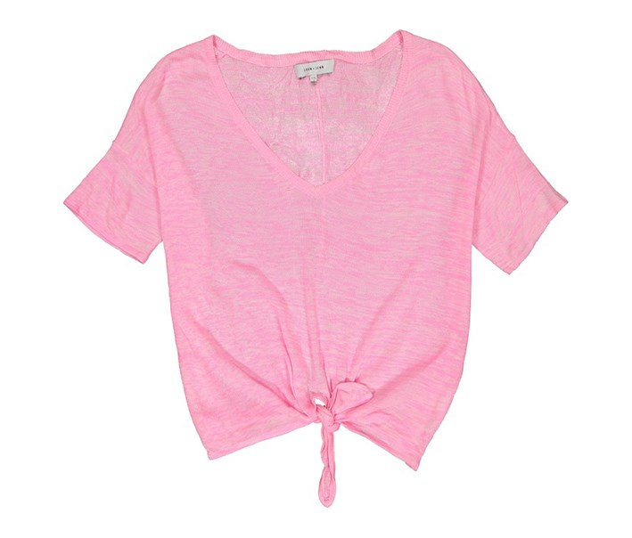 Women's Pullover Sweater Tie-Front, Heather Pink