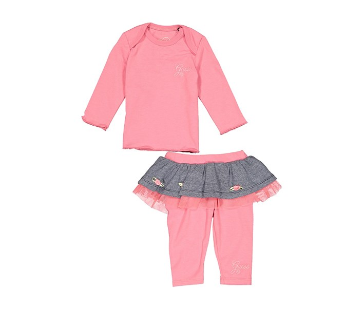 Guess Little Girls Top and Leggings Set, Pink