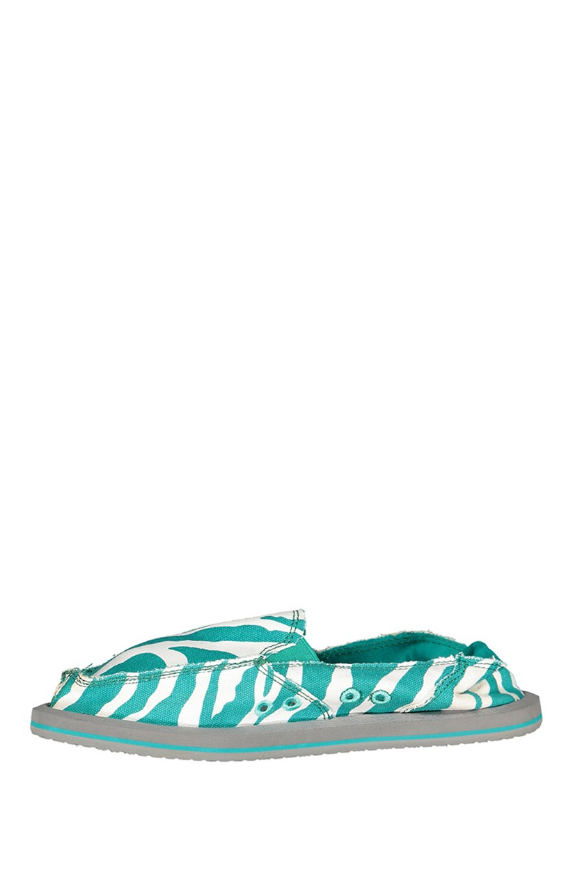 Women's Peacock Zebra I'm Game Slip-on Shoe, Green/White