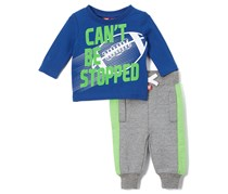 UR Active Baby Boy 2 Pieces Set, Blue/Grey/Lime Green