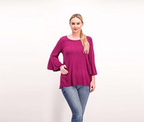 Nally & Millie Women's Bell Sleeve Top, Purple