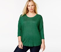 Michael Kors Plus Size Mini-Geometric-Print Top, Spring Green