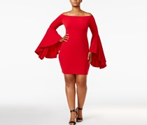 Soprano Trendy Plus Size Bell-Sleeve Dress, Red