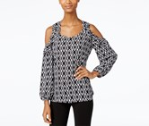 Ny Collection Women's Printed Ruffled Cold Shoulder Top, Blck/White