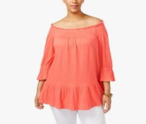 Ny Collection Plus Size Off-The-Shoulder Top, Coral