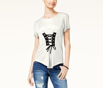 Almost Famous Juniors Corset-Front High-Low Top, Ivory